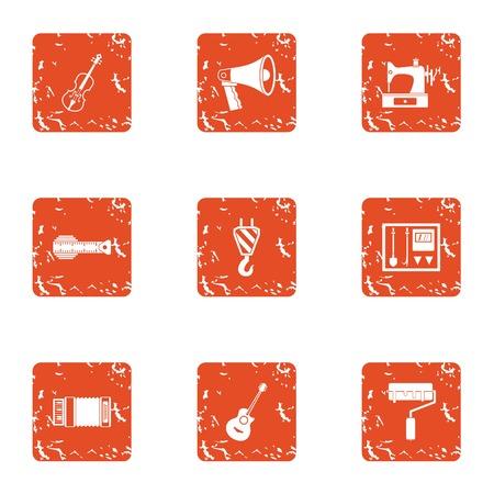 Manufacturing smelter icons set. Grunge set of 9 manufacturing smelter vector icons for web isolated on white background Çizim