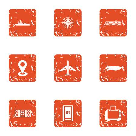 Aspect icons set. Grunge set of 9 aspect vector icons for web isolated on white background