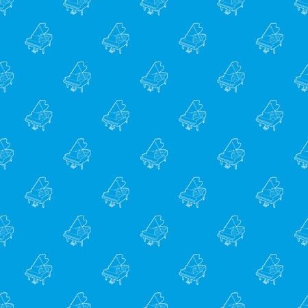 Grand piano pattern vector seamless blue repeat for any use