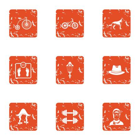 Tense situation icons set. Grunge set of 9 tense situation vector icons for web isolated on white background