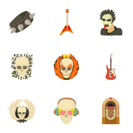 Skull icons set. Cartoon set of 9 skull vector icons for web isolated on white background
