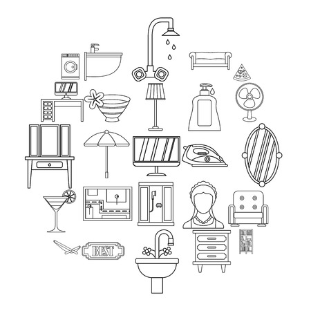 Public house icons set. Outline set of 25 public house vector icons for web isolated on white background  イラスト・ベクター素材