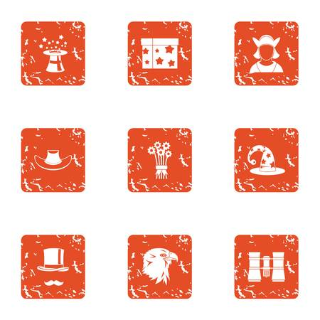 Spell icons set. Grunge set of 9 spell vector icons for web isolated on white background Stock Illustratie