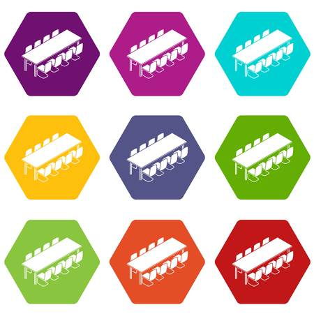 Long meet table icons 9 set coloful isolated on white for web
