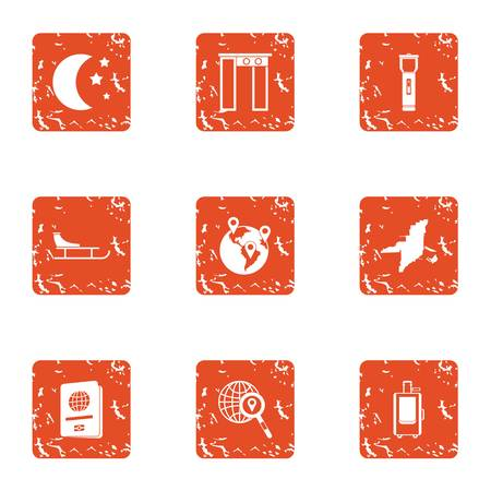 Nature stead icons set. Grunge set of 9 nature stead vector icons for web isolated on white background