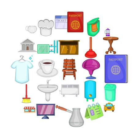 Inn icons set, cartoon style