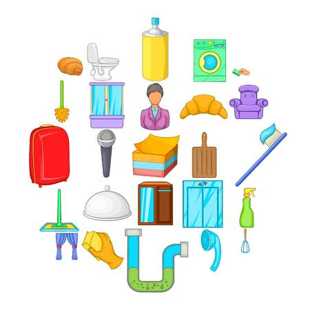 Hotel service icons set, cartoon style