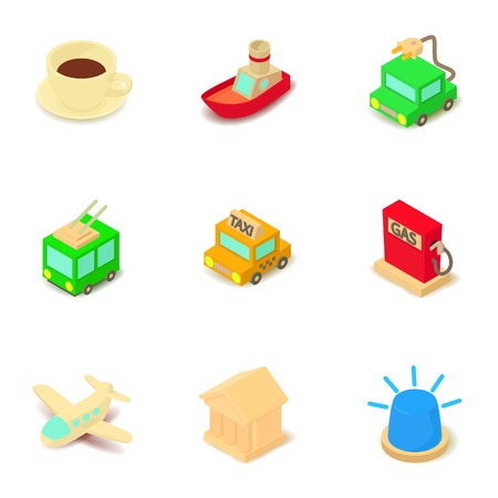 Shuttle icons set, isometric style