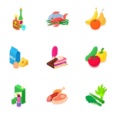 Restaurant dinner icons set, isometric style