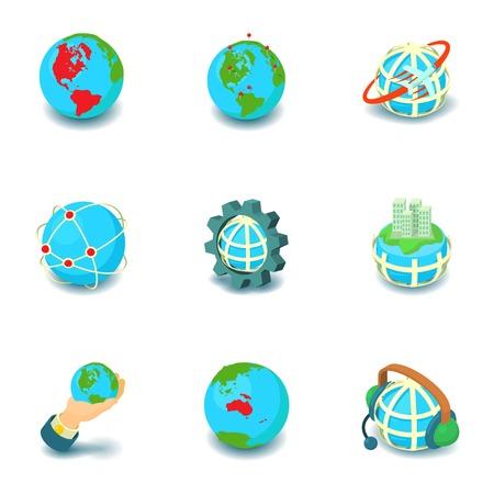 Terrestrial globe icons set, cartoon style