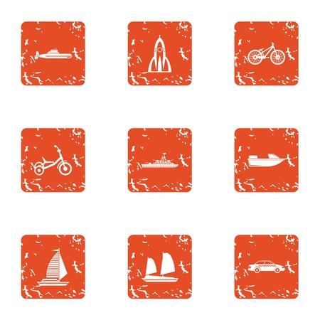 Traffic flow icons set, grunge style