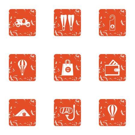 Transition icons set, grunge style