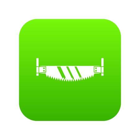 Two handled saw icon digital green Illustration