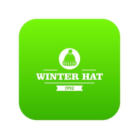 Winter hat icon green vector