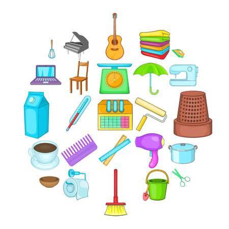 Housekeeping icons set, cartoon style Stock Illustratie