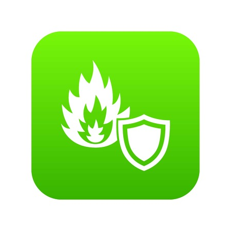 Fire protection icon green vector