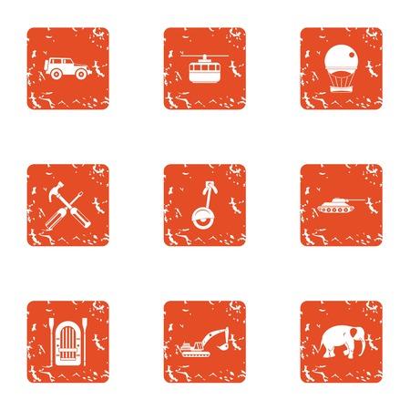 Bucket icons set, grunge style