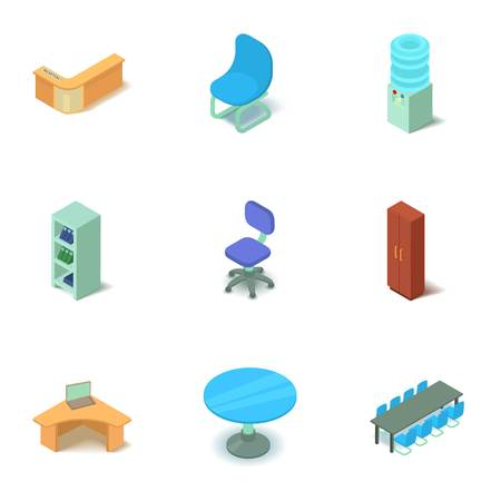 Office space icons set, isometric style