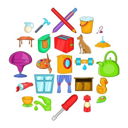 Housewifery icons set, cartoon style