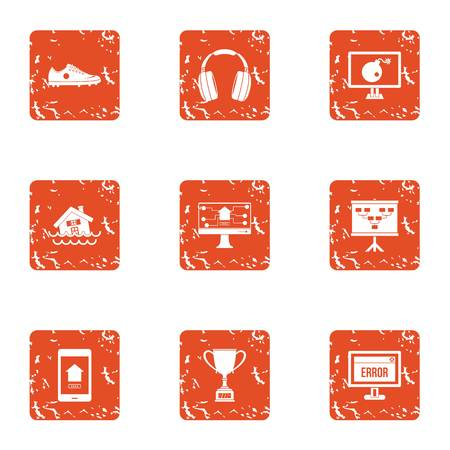 Programmer reward icons set, grunge style Illustration