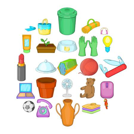 House things icons set, cartoon style