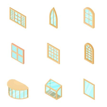 Window display icons set, isometric style
