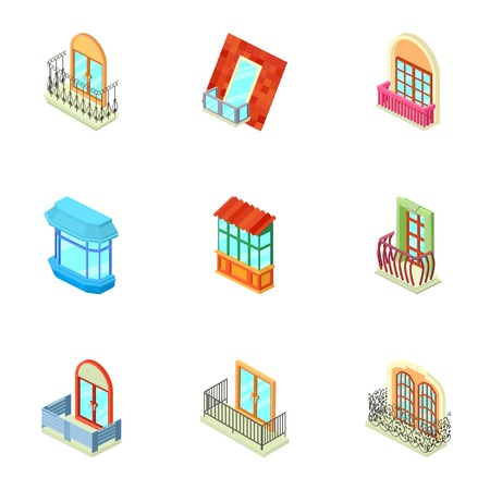 Storefront icons set, isometric style 写真素材 - 102241296