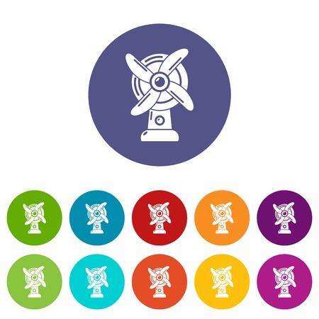 Ventilator icons set vector color
