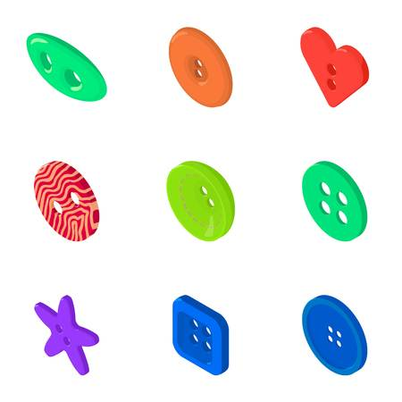 Button bright icons set, isometric style