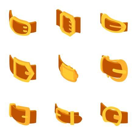 Buckle icons set, cartoon style