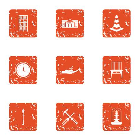 Patch icons set, grunge style