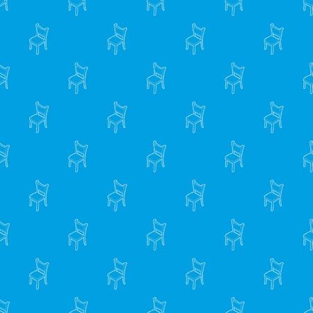 Chair pattern vector seamless blue Illustration