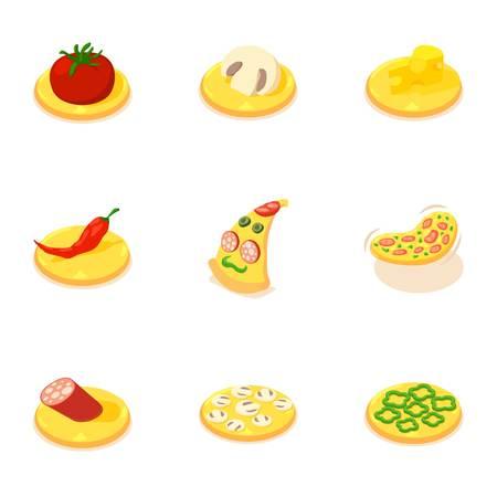 Italian food icons set, cartoon style Illustration