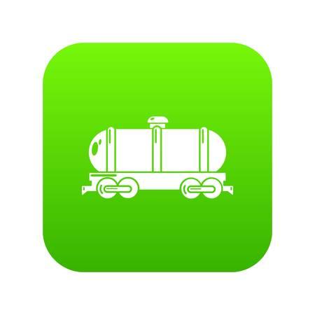 Tank car icon green vector Illustration