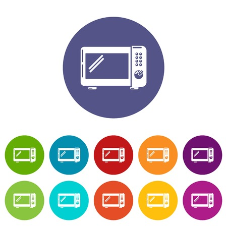 Microwave oven icons set vector color
