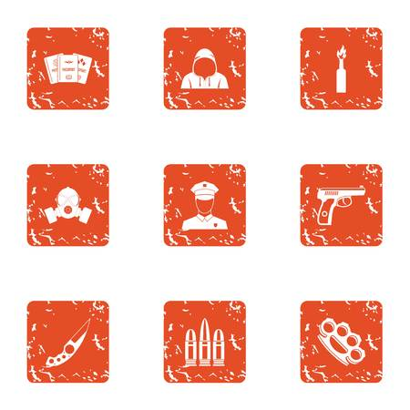 Sedition icons set, grunge style Stock Illustratie