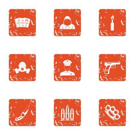 Sedition icons set, grunge style Illustration