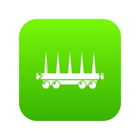 Delivery wagon icon green vector