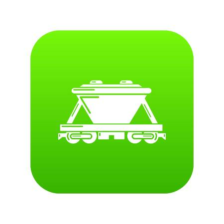 Goods train icon green vector Standard-Bild - 102241541