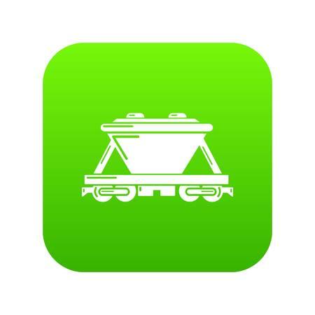 Goods train icon green vector Illustration