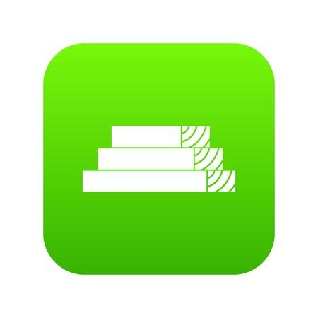 Wooden planks icon digital green