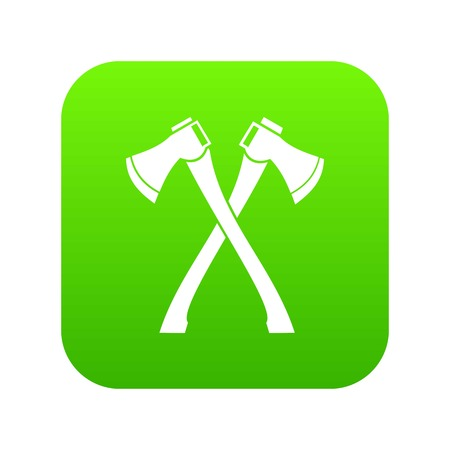 Two crossed axes icon digital green