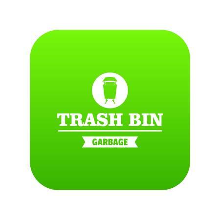 Bin street icon green vector