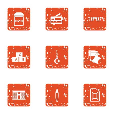 Program of development child icons set, grunge style