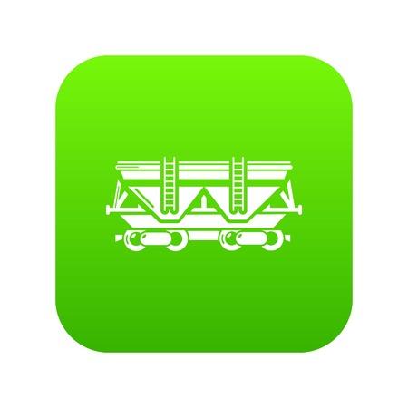 Wagon icon green vector