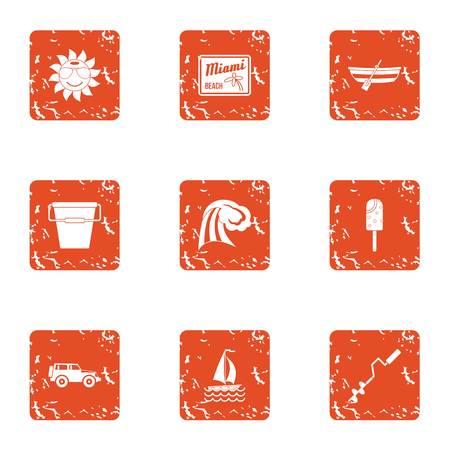 Beach float icons set, grunge style