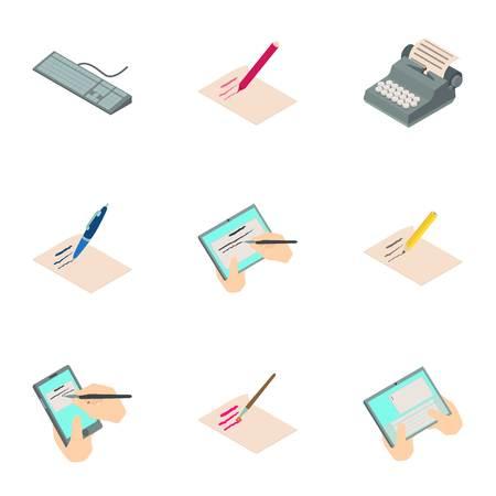 Work of authorship icons set, isometric style Ilustração