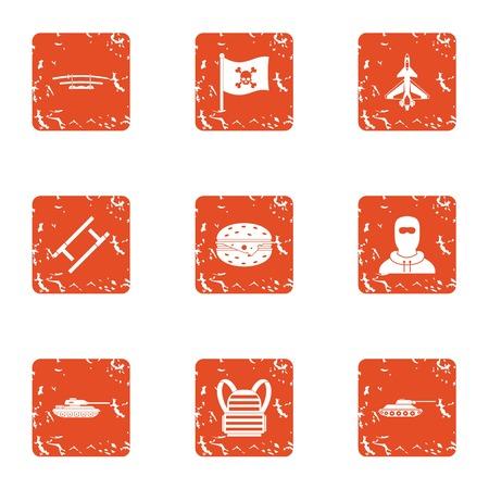 Clash icons set, grunge style