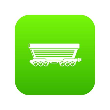 Freight car icon green vector Illustration