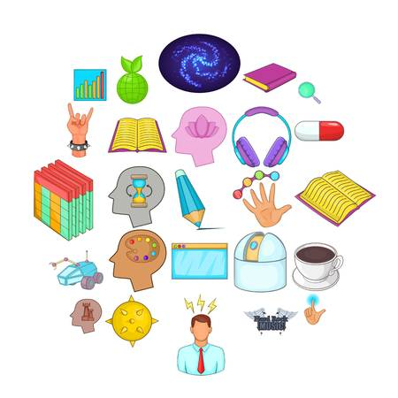 Human mind icons set, cartoon style